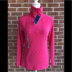 Columbia Pink Mock Neck Quilted Fleece Size Small